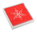 Red Christmas or festive paper napkins aka serviettes, isolated Royalty Free Stock Photo