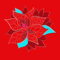 Red christmas flower with on red background Royalty Free Stock Image