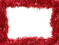 Red Christmas garland, rectangular frame Royalty Free Stock Photography