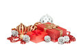 Red Christmas gift box and balls. Royalty Free Stock Photo