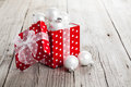 Red Christmas gift box full of xmas white bauble Royalty Free Stock Photo