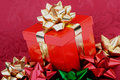 Red Christmas Gift Box Gold Ribbon Colorful Bows Royalty Free Stock Photos