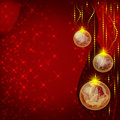 Red christmas greeting card with balls Stock Photos