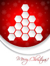 Red christmas greeting card design with hexagon tree abstract Stock Photography