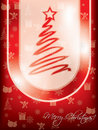 Red christmas greeting card design with tree Royalty Free Stock Images