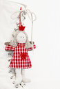 Red christmas or guardian angel in white checkered red country dress Royalty Free Stock Photo