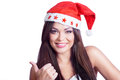 Red christmas hat beautiful woman in santa claus on white background Stock Photo