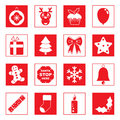 Red christmas icons Royalty Free Stock Photos