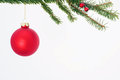Red christmas ornament hanging from tree Stock Images