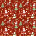 Red christmas pattern with confetti seamless cartoon background Stock Photography