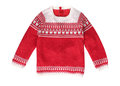 Red christmas pattern sweater isolated.