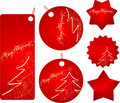 Red christmas sale badges Stock Photos
