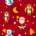 Red christmas seamless pattern a with santa claus a snowman reindeer and cookies on background useful also as design element for Royalty Free Stock Photography