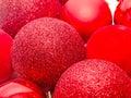 Red christmas shinny globes christmas tree ornaments Royalty Free Stock Image