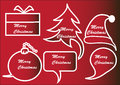 Red christmas speech bubbles on background Stock Photos