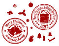 Red Christmas  stamps Royalty Free Stock Photography