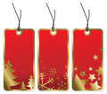 Red Christmas tags with golden borders Stock Photo