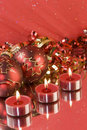 Red Christmas tea lights Royalty Free Stock Photos