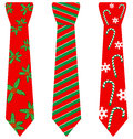 Red Christmas ties with print on white Royalty Free Stock Photo