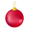 Red Christmas tree ball realistic  illustration. Christmas fir tree ornament isolated on white. Royalty Free Stock Photo