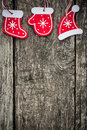 Red christmas tree decorations on grunge wood background winter holidays concept copy space for your text Royalty Free Stock Photos