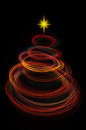 Red christmas tree light painting Royalty Free Stock Photo