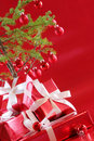 Red Christmas tree, red presents Stock Photography