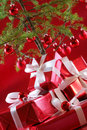 Red Christmas tree, red presents Stock Images