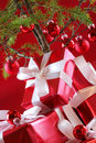 Red Christmas tree, red presents Stock Photo