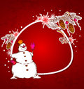 Red christmas vector background with snowman and snowflake Stock Photos