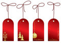 Red christmas vector labels with decorations Stock Images