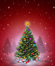 Red Christmas Winter Tree Royalty Free Stock Photo