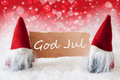 Red Christmassy Gnomes With Card, God Jul Means Merry Christmas Royalty Free Stock Photo