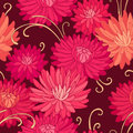 Red chrysanthemums on dark background floral seamless pattern for your design Stock Photos