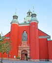 The red church stokholm sweden october st jacob s kyrka dedicated to apostle saint james greater patron saint of travellers Royalty Free Stock Images