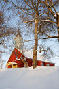 Red church in winter Stock Photo