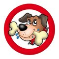 Red circle with angry dog Stock Photography