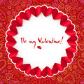 Red circle valentines day greeting card template vector Stock Photo