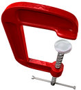 Red clamp tool perspective an open on an isolated studio background Royalty Free Stock Images
