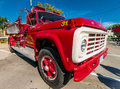 Red classic fire truck ford on wheels on wyandotte Stock Photos