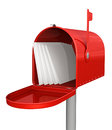 Red classic mailbox with mail Stock Photos