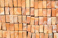 Red clay brick material for construction Stock Photos