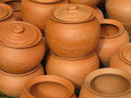 Red clay pottery ceramics abstract background ceramic vases Stock Photos