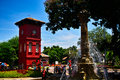 Red clock tower history in malaysia melaka city Royalty Free Stock Photos