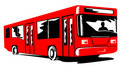 Red coach bus woodcut style Stock Photos