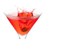 Red cocktail with splash Royalty Free Stock Image