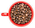 Red coffee cup with coffee beans isolated on white background Stock Image