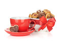 Red coffee cup and cookies Stock Photos