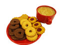Red coffee cup and cookies Stock Photography