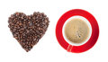 Red coffee cup and heart shape Stock Photo